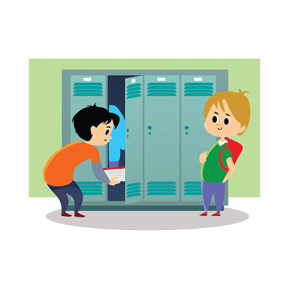 Children Boys Near Lockers In The Locker Room Of The School Dress Up And Put Their Personal Belongings And Books For Study In Open Doors School Hallway And Campus Life Vector Illustration